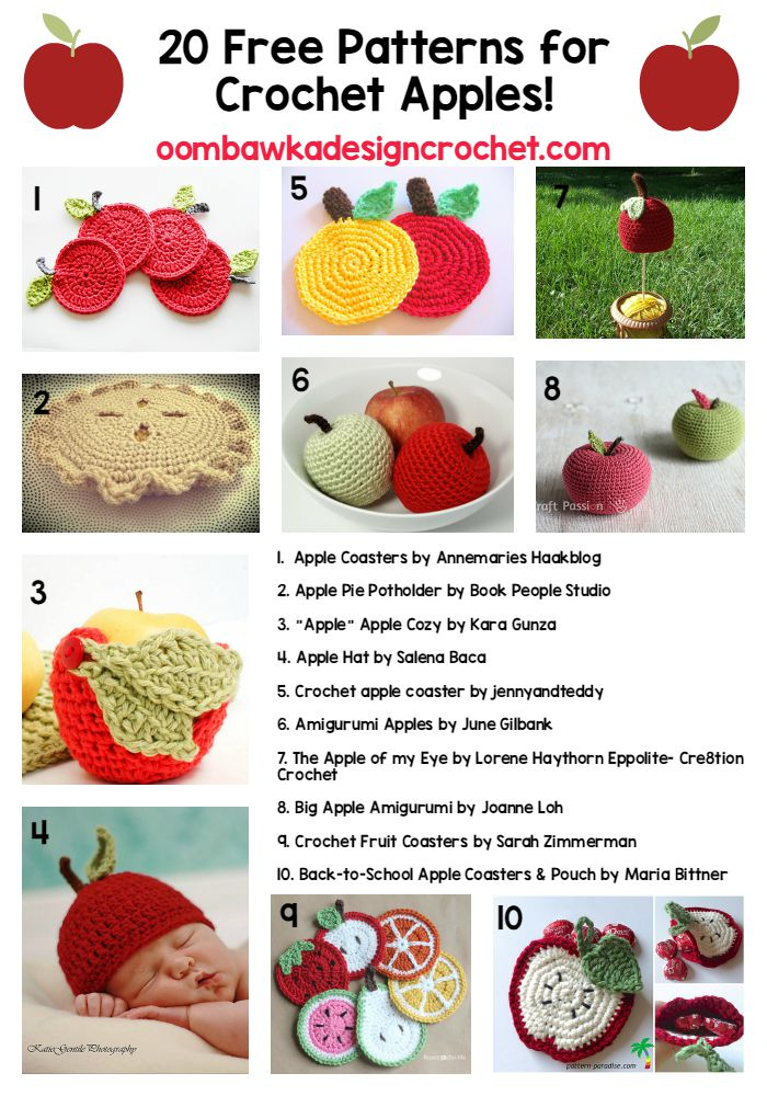 20 Free Patterns for Crochet Apples | Free Pattern Friday