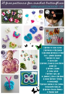 Free Patterns for Crochet Butterflies | oombawkadesigncrochet.com