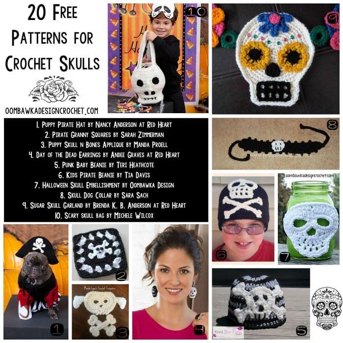 20 Free Crochet Skull Patterns | links at oombawkadesigncrochet.com