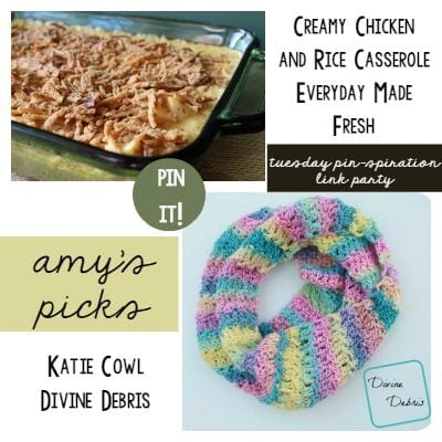 Link Party - Amys Picks - Creamy Chicken and Rice Casserole and Katie Cowl