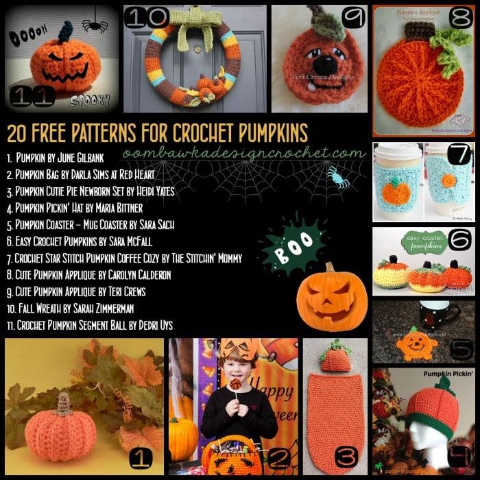 20 Free Patterns for Crochet Pumpkins for Halloween oombawkadesigncrochet.com