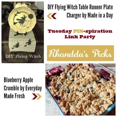 Rhondda's Picks | DIY Flying Witch Table Runner Plate Charger/Blueberry Apple Crumble | Tuesday PIN-spiration Link Party www.thestitchinmommy.com