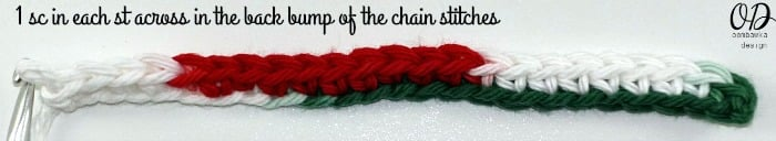 1-sc-in-each-st-across Very Merry Scrubby Dishcloth - Free Crochet Pattern and Tutorial