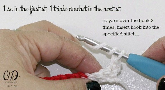 1-sc-in-the-first-st-1-tr-in-the-next Very Merry Scrubby Dishcloth - Free Crochet Pattern and Tutorial