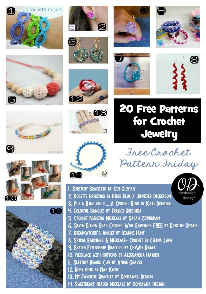 20 Free Patterns for Crochet Jewelry | Free Pattern Friday at Oombawka Design