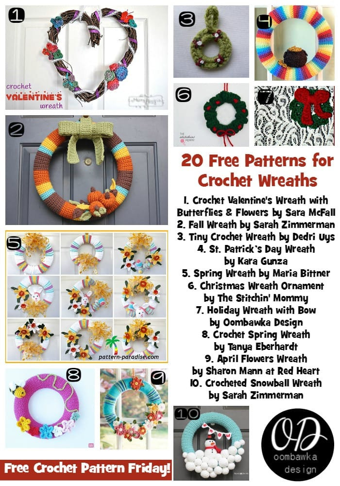 20 Free Patterns for Crochet Wreaths at Oombawka Design