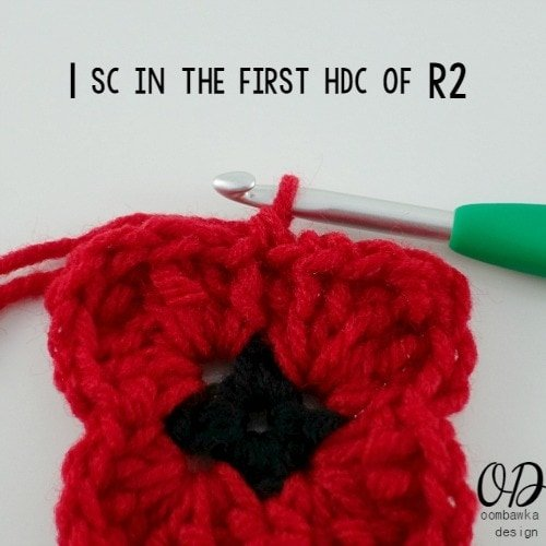 5 sc in first hdc of R2 | Lest We Forget Square | Free Pattern | Oombawka Design Crochet