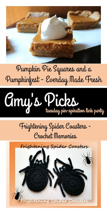 PIN spiration Link Party | Amys Picks Pumpkin Pie Squares and a Pumpkinfest - Everday Made Fresh Frightening Spider Coasters - Crochet Memories