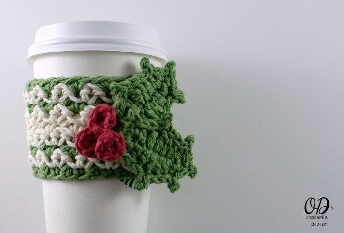 Festive Cup Cozy Free Pattern oombawkadesigncrochet