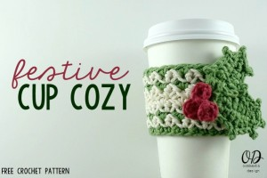 Festive Cup Cozy Cover Main Image Free Pattern oombawkadesigncrochet.com