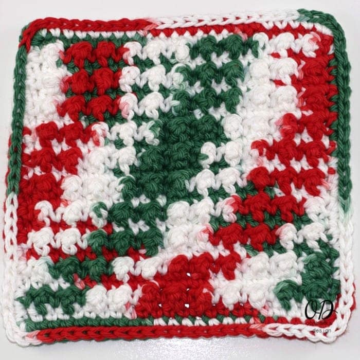 Finished-Very Merry Scrubby Dishcloth - Free Crochet Pattern and Tutorial