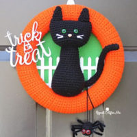 Halloween Black Cat Wreath Pattern
