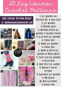 20 Free Crochet Patterns for Leg Warmers | Free Crochet Pattern Friday at oombawkadesigncrochet.com
