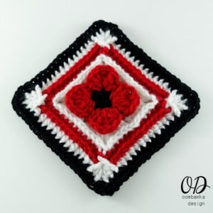 Lest We Forget Poppy Afghan Square | Free Pattern