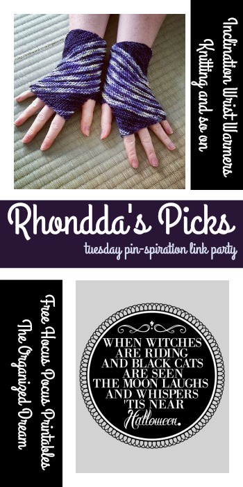 PIN spiration Link Party | Rhonddas Picks Free Hocus Pocus Printables - The Organized Dream and Inclination Wrist Warmers - Knitting and so on