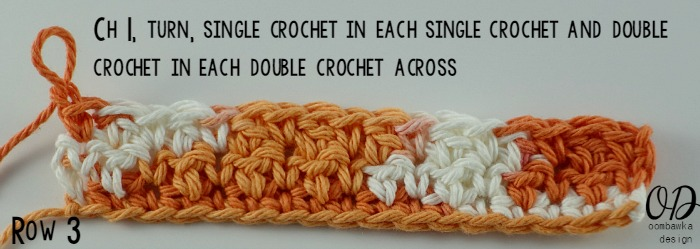 Row 3 | Up and Down Dishcloth | Free Pattern | Kitchen Crochet | oombawkadesigncrochet.com