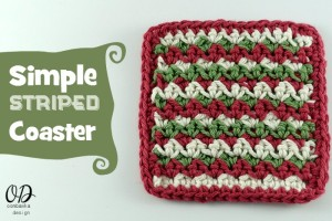 Simple Striped Coaster Free Pattern oombawkadesigncrochet.com
