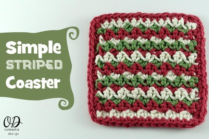 Crochet a set of Simple Striped Coasters. Make them in one, two or even three colors and see how the final appearance of the crochet stitch pattern changes.