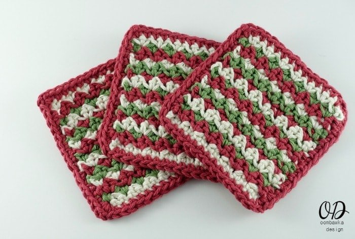 Simple Striped Coasters - Holiday Coasters | Free Pattern | Oombawka Design Crochet