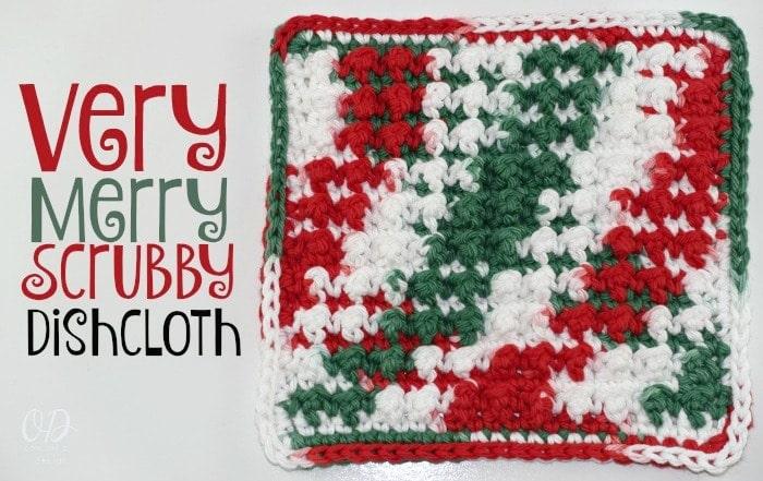 Very Merry Scrubby Dishcloth - Free Crochet Pattern and Tutorial
