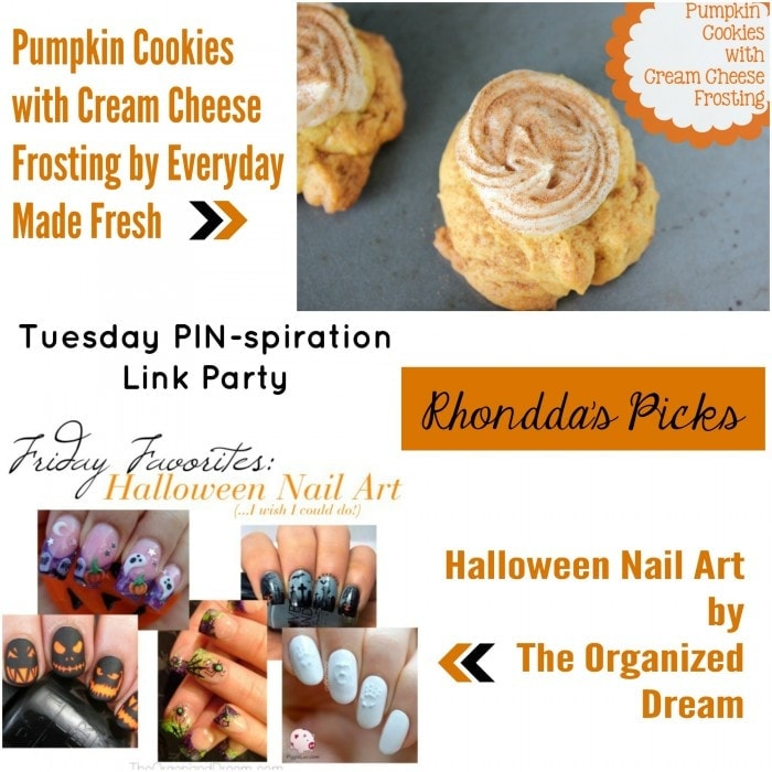 Rhondda's Picks | Pumpkin Cookies with Cream Cheese Frosting/Halloween Nail Art | Tuesday PIN-spiration Link Party www.thestitchinmommy.com
