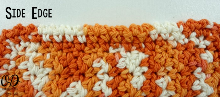 Side Edge | Up and Down Dishcloth | Free Pattern | Kitchen Crochet | oombawkadesigncrochet.com