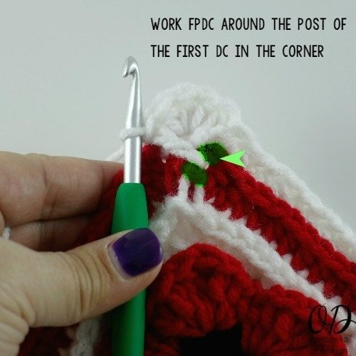 work fpdc around first dc   Lest We Forget Square   Free Pattern   Oombawka Design Crochet