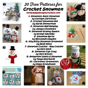 20 Free Patterns for Crochet Snowmen