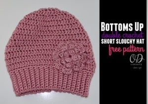 Bottoms Up Double Crochet Short Slouchy Hat Free Pattern Cover Image