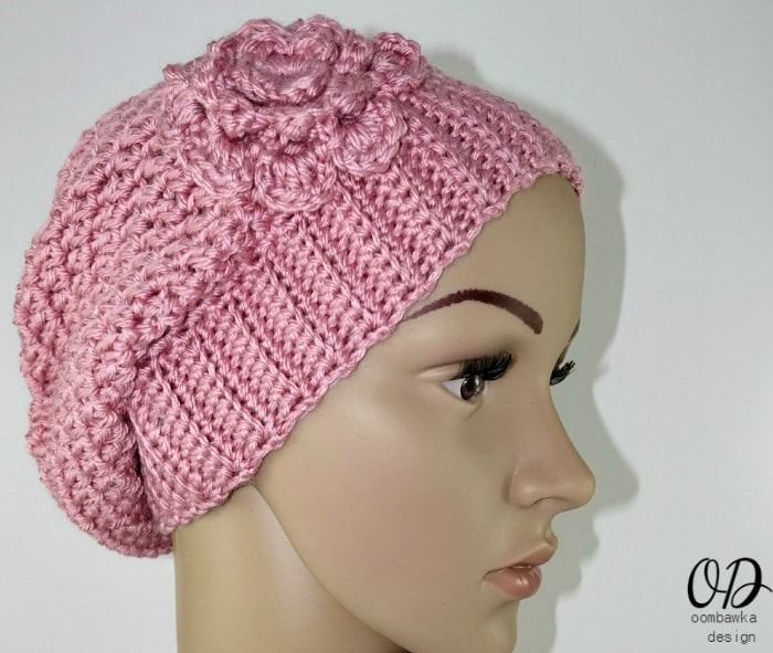 Pink Short Slouchy Beanie Free Pattern