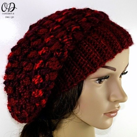 Free Crochet Pattern Multiple Sizes Pretty Cluster Stitch Slouch Hat Bulky Weight Yarn