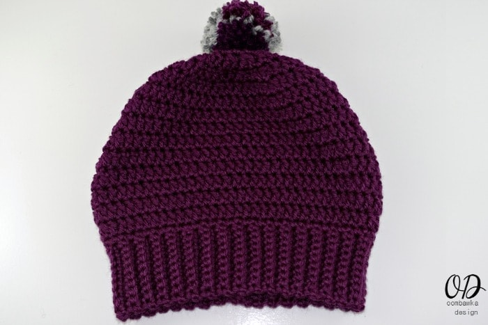 Purple Slouch Pom Free Pattern Simple Double Crochet Slouch