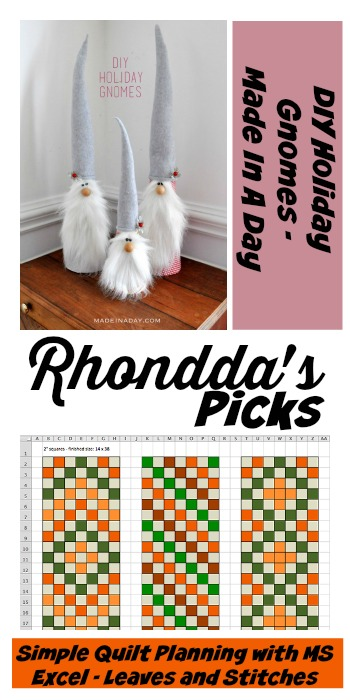 Tuesday PINSPIRATION Link Party RhonddasPicks DIYHolidayGnomes SimpleQuiltPlanningWithMSExcel