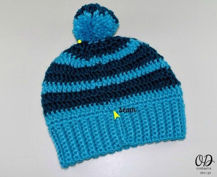 Seam Line Simple Double Crochet Slouch Hat Free Pattern