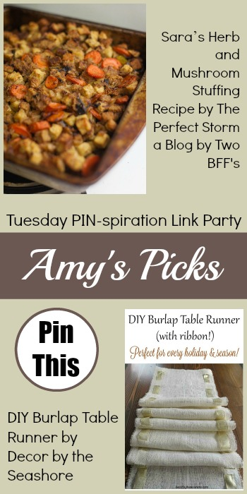 Amy's Picks | Sara's Herb and Mushroom Stuffing/DIY Burlap Table Runner | Tuesday PIN-spiration Link Party www.thestitchinmommy.com