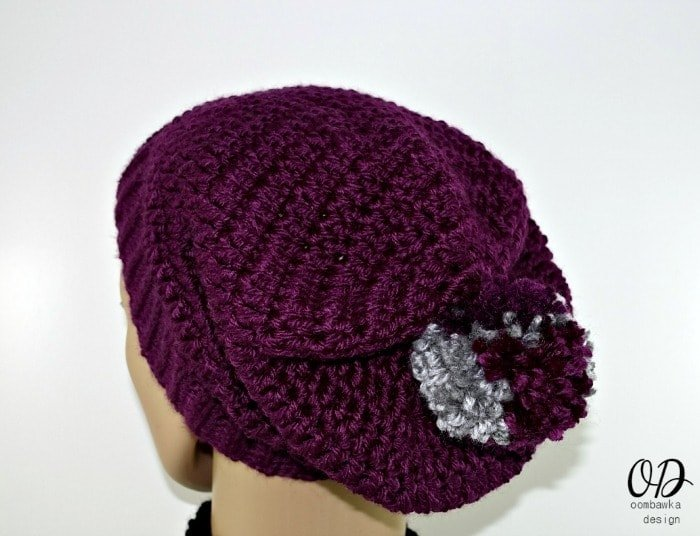 Back View of Purple Simple Double Crochet Slouch Hat