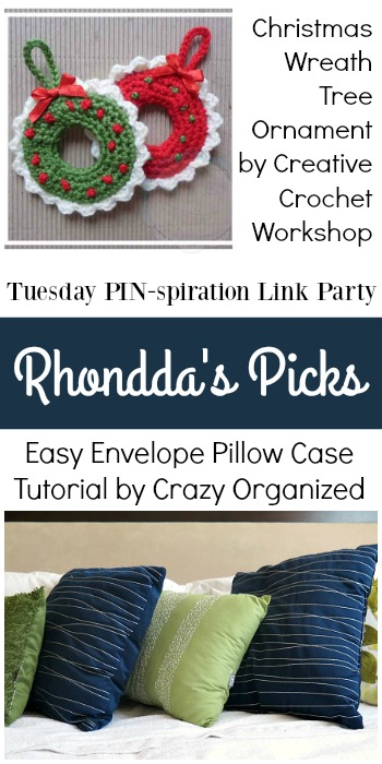 Rhondda's Picks | Christmas Wreath Tree Ornament/Easy Envelope Pillow Case Tutorial| Tuesday PIN-spiration Link Party www.thestitchinmommy.com