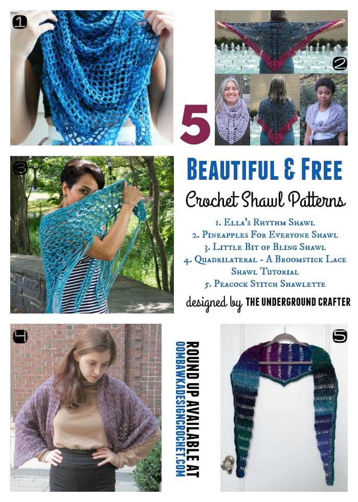 5 Beautiful and Free Crochet Shawl