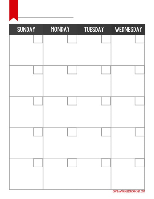 Free Blogger Printable Monthly Oombawka Design