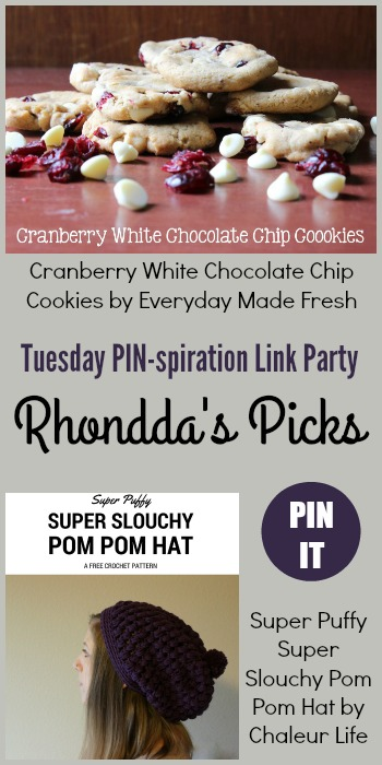 Rhondda's Picks | Cranberry White Chocolate Chip Cookies/Super Puffy Super Slouchy Pom Pom Hat| Tuesday PIN-spiration Link Party