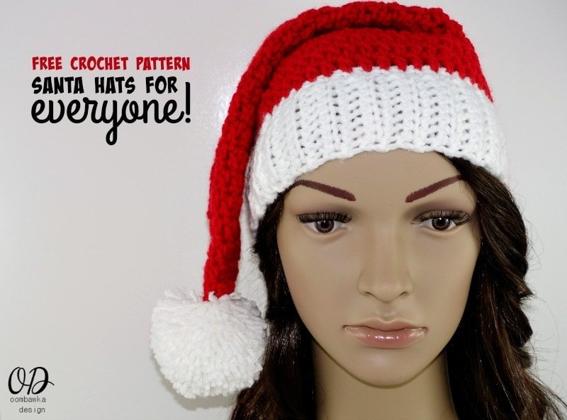 Santa Hats For Everyone | Free Pattern • Oombawka Design Crochet