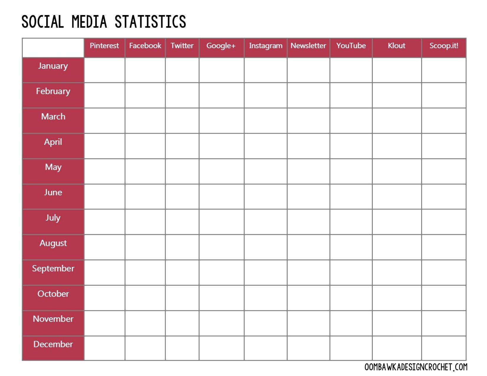 Free Printable Social Media Stats Blogger Planner Oombawka - Instagram calendar template