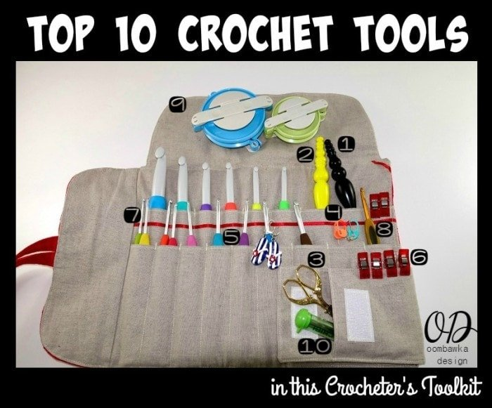 My Toolkit Top 10 Crochet Tools numbered