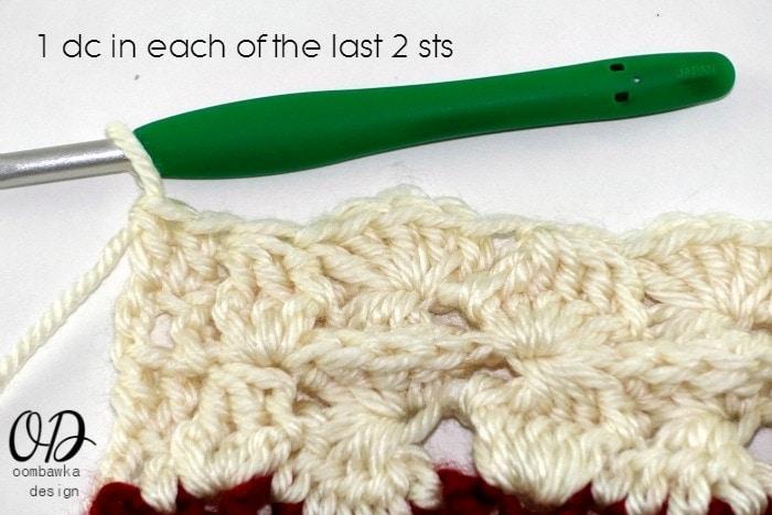 1 dc in each of last 2 sts R2 Part 2 Wonder Crochet Blanket CAL