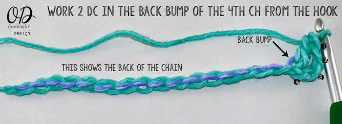 Step 2 work 2 dc in the 4th ch from hook in back bump see tutorial for more help