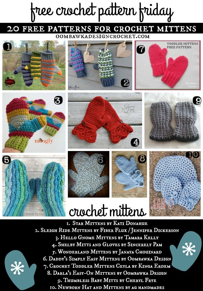 20 Free Patterns For Crochet Mittens Oombawka Design Crochet