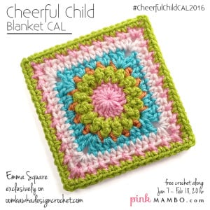 Main Photo Cheerful Child Emma Square Blanket CAL Pink Mambo Guest Post