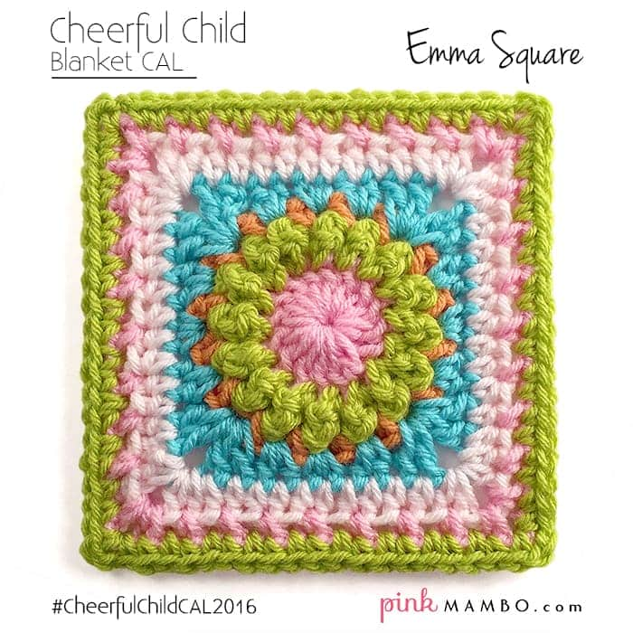 Final Image | Cheerful Child Emma Square Blanket CAL Pink Mambo Guest Post