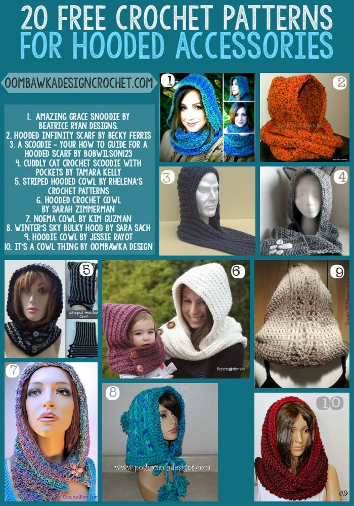 20 Free Patterns For Hooded Scarves and Hooded Cowls