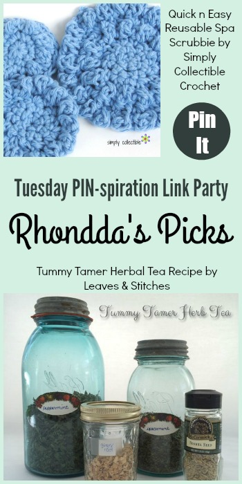 Rhondda's Picks | Quick n Easy Reusable Spa Scrubbie/Tummy Tamer Herbal Tea Recipe| Tuesday PIN-spiration Link Party www.thestitchinmommy.com